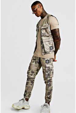 Khaki Camo Utility Vest & Jogger Set With Woven MAN Tab