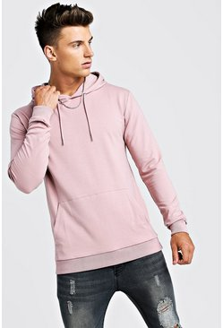 Mens Bark Basic Muscle Fit Over The Head Hoodie
