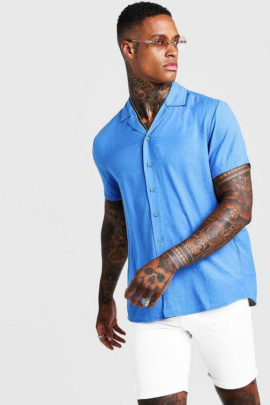 Mens Blue Jacquard Animal Short Sleeve Revere Shirt