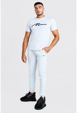 Mens Grey 3D MAN Signature Embroidered T-Shirt & Jogger