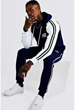 Mens Navy 'M' Embroidered Colour Block Tape Tracksuit