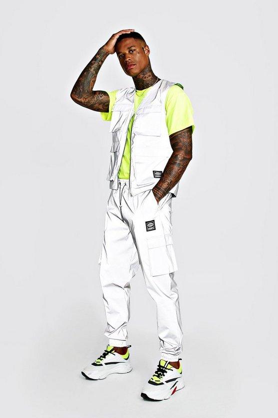 Man Reflective Utility Vest & Jogger Set by Boohoo Man