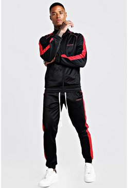 Mens Black MAN Official Tricot Funnel Neck Tracksuit