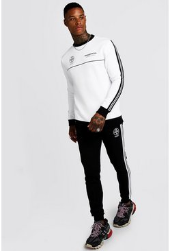 Mens White MAN Official Contrast Sweater Tape Tracksuit