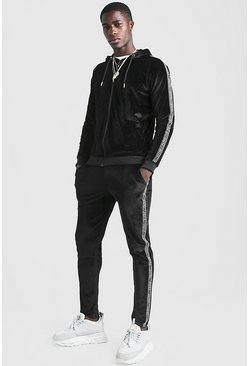 Mens Black Velour Zip Through Hooded With MAN Tape