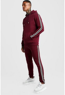 Mens Wine MAN Signature Hooded Tracksuit with Tape Detail