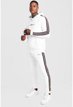 Mens White MAN Signature Hooded Tracksuit with Tape Detail