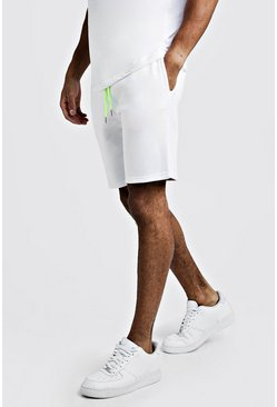 Mens White Plain Mid Length Shorts With Neon Draw Cords