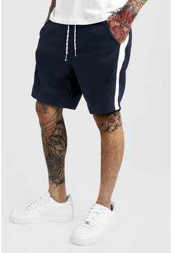 Mens Navy Side Panel Mid Length Jersey Short