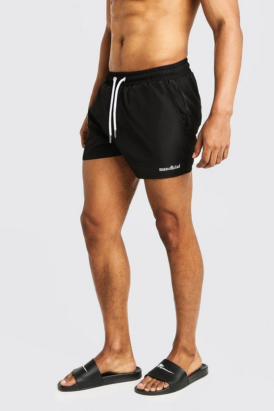 Mens Black MAN Official Short Length Swim Short