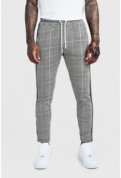 Mens Yellow Jacquard Taped Cropped Smart Jogger Trouser