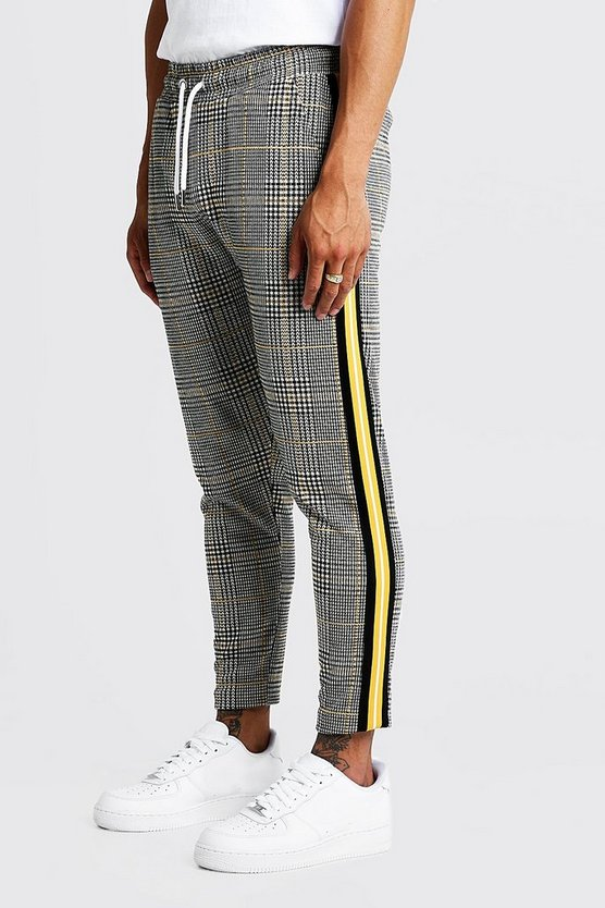 Mens Mustard Houndstooth Check Taped Cropped Smart Jogger