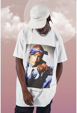 White Oversized Tupac Bandana License T-Shirt