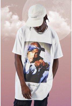 White Oversized Tupac Bandana License T-Shirt