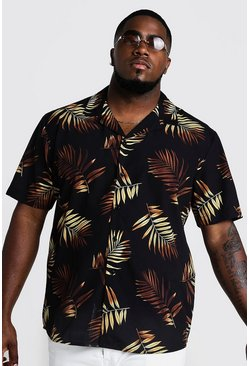 Mens Black Big & Tall Repeat Leaf Print Revere Collar Shirt