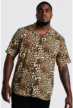 Mens Black Big & Tall Leopard Print Revere Collar Shirt