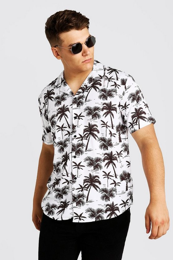 Mens White Big & Tall Palm Tree Revere Collar Shirt