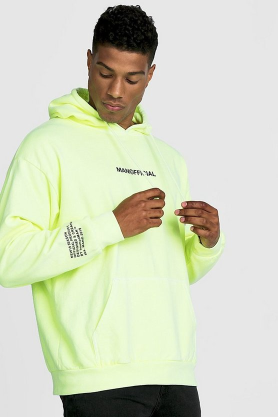 Mens Neon-yellow MAN Official Drip Print Hoodie