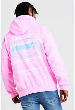 Mens Neon-pink MAN Official Front And Back Print Hoodie