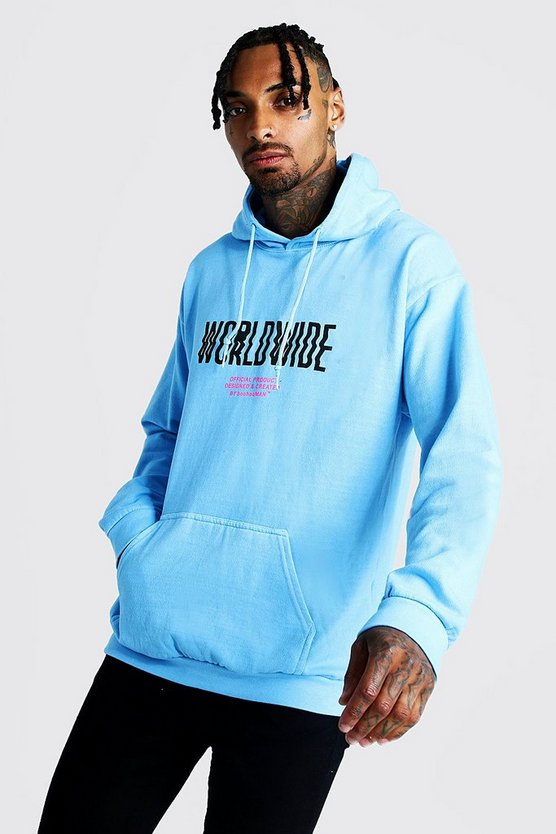 Mens Blue Worldwide Print Hoodie