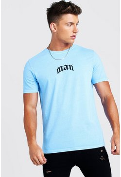 Mens Blue Gothic MAN Print T-Shirt With Back Print