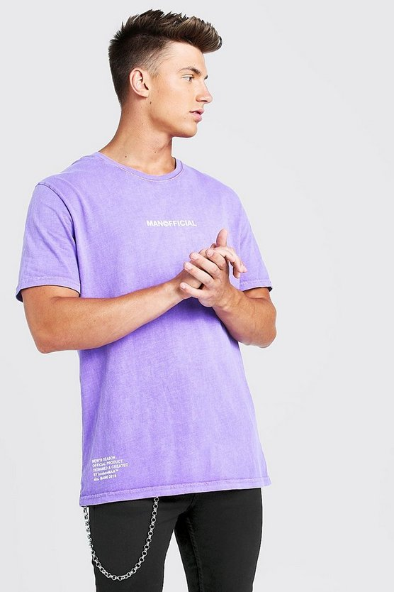 Mens Purple Loose Fit MAN Official Drip Print T-Shirt