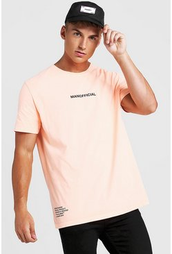 T-shirt oversize imprimé goutte MAN Officiel, Orange néon, Homme