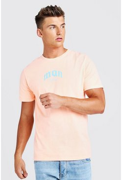 T-Shirt imprimé MAN gothique, Orange néon, Homme