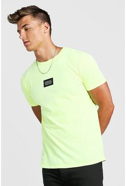 Mens Neon-yellow MAN Worldwide T-Shirt With Front & Back Print