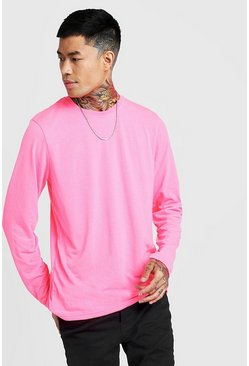 Mens Neon-pink Basic Long Sleeve Crew Neck T Shirt