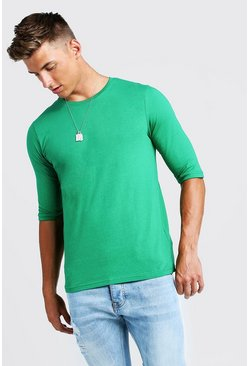 Mens Green 3/4 Sleeve Regular Fit T-Shirt
