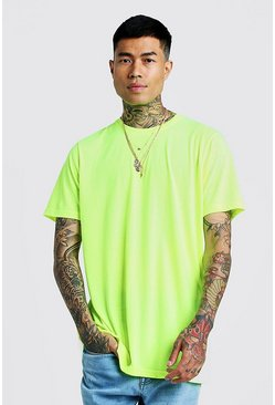Mens Neon-yellow Longline T-Shirt