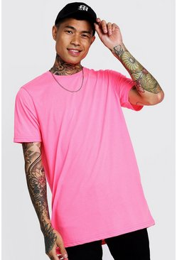 T-shirt long, Rose néon, Homme