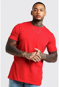 T-shirt long, Rouge, Homme