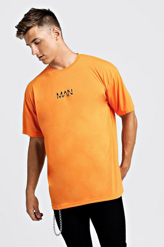 Mens Neon-orange Oversized Original Man Print T-Shirt