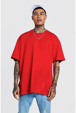 Mens Red Oversized Crew Neck T-Shirt