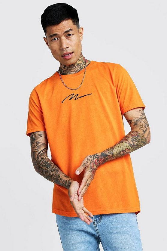 Mens Neon-orange Man Signature Embroidered T-Shirt