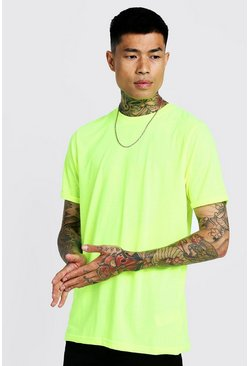 Mens Neon-yellow Basic Roll Sleeve T-shirt