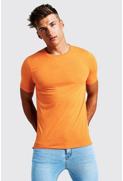 T-shirt long ras du cou, Orange néon, Homme