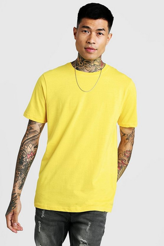 Yellow Basic Crew Neck T Shirt