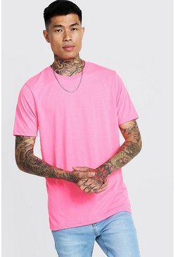 Mens Neon-pink Basic Crew Neck T Shirt