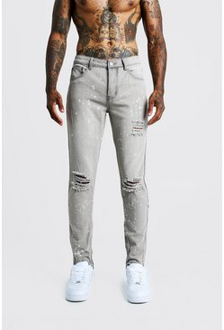 Mens Light grey Skinny Ripped Knee Jeans With Bleach Effect