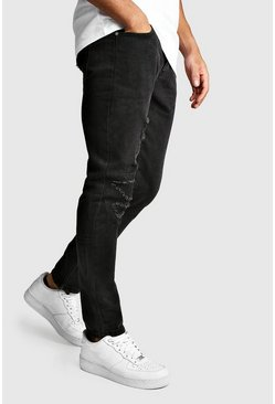 Mens Washed black Worn Skinny Jean With Ankle Zips