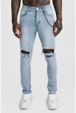 Mens Light blue Skinny Jean With Stud & Chain Detail
