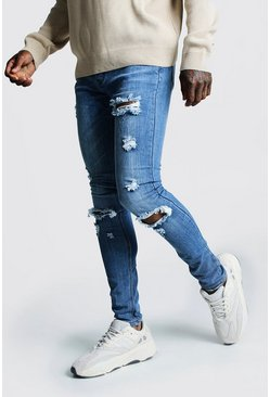 Mid blue Super Skinny Jeans With Busted Knees