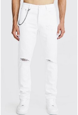 Mens White Slim Fit Rigid Distressed Jeans With Chain