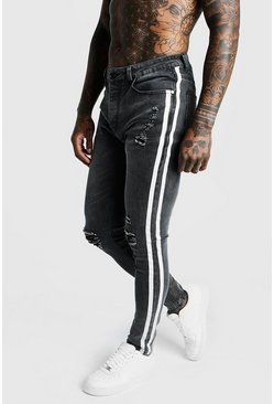 Mens Grey Super Skinny Distressed Jeans With Side Tape