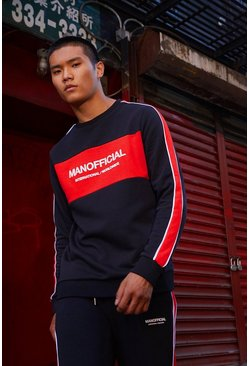 Mens Black MAN Official Panelled Sweater Tracksuit With Piping