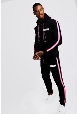 Mens Black MAN Collection Neon Tape Hooded Tracksuit