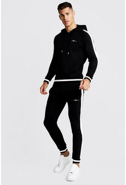Mens Black Panelled Hooded Tracksuit With Sports Rib